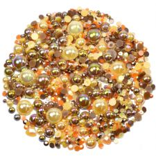 'CHOCOLATE ORANGE' Theme Rhinestone and Pearl Embellishment Pack